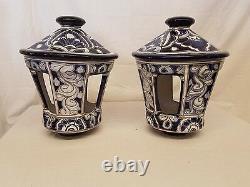 15x11 PAIR/SET Talavera LIGHT POST TOPS Handmade BLUE Ceramic Mexico Pottery