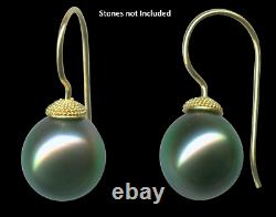 18K Yellow Gold Handmade Granulated Pearl Cup Ear Wires withPost 6-8mm Pearl 2 pcs