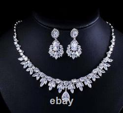 18k White Gold GP Necklace Earrings Set made w Swarovski Crystal Stone Bridal