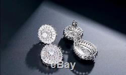 18k White Gold GP Necklace Earrings Set w Swarovski Diamond Stone Wedding Jewel