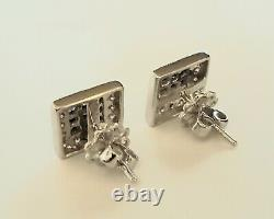 18kt 2.06ct Sapphire Diamond Earrings Square Genuine Sapphires Invisible setting