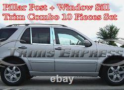 1998-2005 Mercedes ML320 ML400 ML430 Pillar Post+Window Sill Trim Combo Set 10Pc