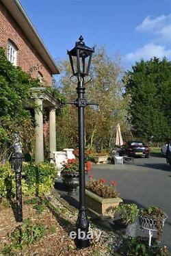 2.3m Tall Black Traditional Victorian Cast Iron Garden Lamp Post Set