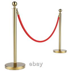 2/4/6/8Pcs Stainless Steel Crowd Control Barrier Stanchion Post Poles Set Gold