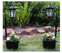 2 Solar Lamp Post and Planter Set Outdoor Driveway Light Freestanding Stake Wall