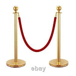 4PCS Red Velvet Stanchion Rope Set Gold Post Crowd Control Queue Line Barrier