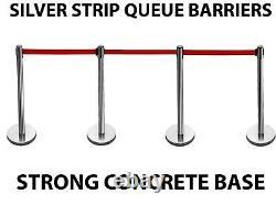 4 X Silver Retractable Strip Queue Barrier Posts Stands Stanchion Divider Set