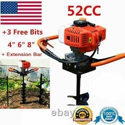 55CC 2-Stroke Gas Post Hole Digger Auger Digger with 4 6 8 Digging Bit Set USA