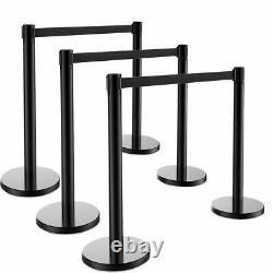 6x Stanchion Set Posts Queue Pole Retractable Black Belt Crowd Control Barrier