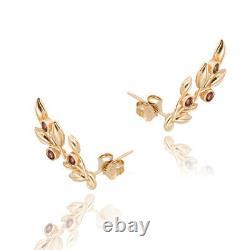 ADI PAZ 14K Yellow Gold Tourmaline Bezel Set Leaf Earrings, Made in Israel