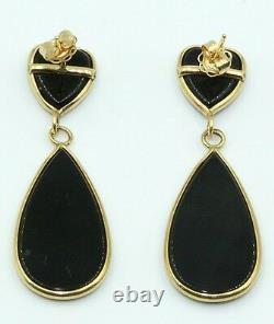 Black Onyx Hanging Earrings set in 14K Yellow Gold Post and Push Backs