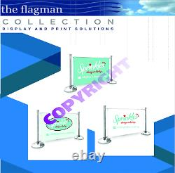 Cafe Barrier Set 1.5m In Black, Includes Posts/bases + Printed Graphic