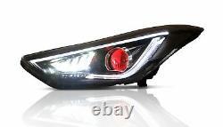 Customized LED Headlights with DEMON EYES for Elantra 2011-2016 Sedan