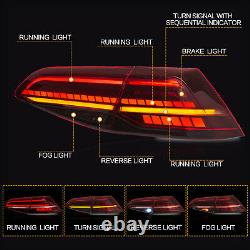 Customized MK7.5 Style RED CLEAR FULL LED Taillights for 15-17 VW Golf MK7 / GTI