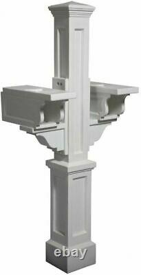 Double Mailbox Post White Fade Resistant with Newspaper Holders/Receptacles