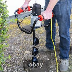 Electric Post Hole Digger 1500W with 6 Inch Digging Soil Auger Drill Set, Black