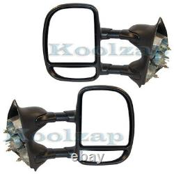 F-Series Truck Excursion Manual Telescopic Tow Mirror Left & Right Side Set PAIR
