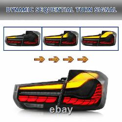 For 12-18 BMW F30 3er F80 M3 Dragon Scale Black OLED Sequential Tail Lights