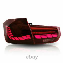 For 12-18 BMW F30 3er F80 M3 Dragon Scale Rose Red OLED Sequential Tail Lights