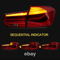 For 2012-2018 BMW 3er F30 F80 RED with Fiber Optic Sequential Turn Tail Lights