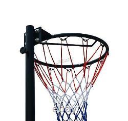 FoxHunter Netball Post Set Stand 3.05M Adjustable Height With Wheel Hoop Net