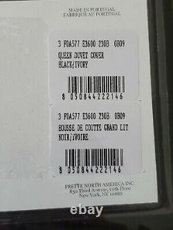 Frette Set Post Modern Duvet Cover Queen Two Standard Shams Black/ivory New