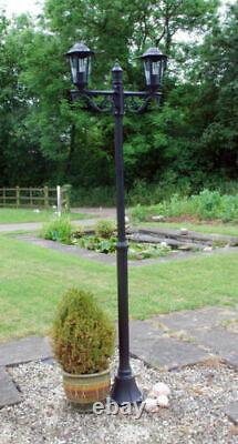 Garden Victorian Lamp Post street Light 2m Double Black Set Lantern Lighting NEW