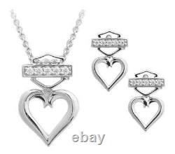 Harley-Davidson Women's Bling Heart Necklace & Post Earrings Gift Set HDS0008-18
