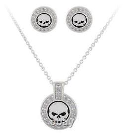 Harley-Davidson Women's Crystal Willie G Skull Necklace & Post Earrings Gift Set