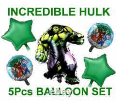 INCREDIBLE HULK 5pce FOIL BALLOON BIRTHDAY DECORATION SET UK SELLER FAST POST