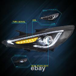 LED Sequential Headlights Replacement Pair Set for 2011-2014 Hyundai Sonata