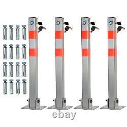 Lockable Folding Car Park Barrier Driveway Security Bollard Post, Set Of 2 3 & 4