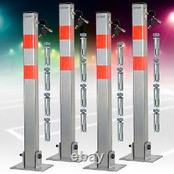 Lockable Folding Car Park Barrier, Set Of 2 3 & 4, Driveway Security Bollard Post