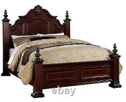 NEW 4-POST Queen/King 4PC Bedroom Set Traditional Bed Dresser Mirror Nightstand