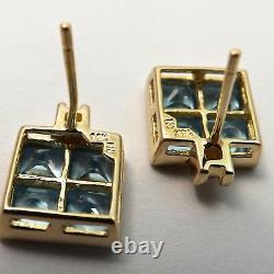 New 14k Gold Invisible Set Blue Topaz Princess Cut Stud Earrings 2.7 grams