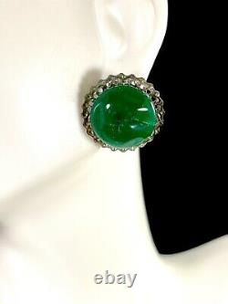 Nib Post-wwii Japanese Poured Green Glass Bead Ladder Necklace Clip Earrings Set