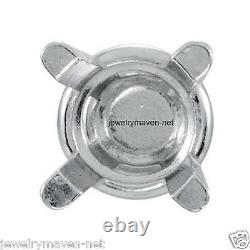 PAIR 6mm PLATINUM 950 4 Prong Stud Earring Basket Setting Screw Threaded Post