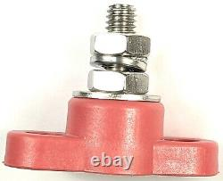 Red & Black Junction Block Power Post Set Terminal Stud 5/16 Stainless 12V 160A