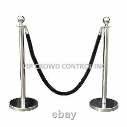 Rope Stanchion, 10 Pcs Deluxe Set, Crown Top, Mirror Polish S. S. 12 Flat Base