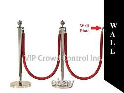 Rope Stanchion, 5 Pcs Set, Crown Top And Mirror Polish S. S. 12 Flat Base