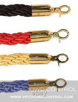 Rope Stanchion Set, 2 Crown Posts, Gold Polished & 1 Rope