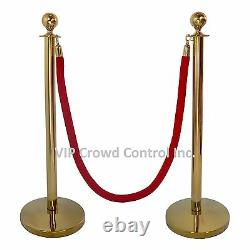 Rope Stanchion Set, 2 Crown Posts In Gold S. S & 1 Rope, Domed Base