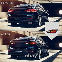 SMOKED LED Tail Lights with Sequential Turn for Elantra 11-16 Sedan 13-14 Coupe