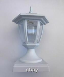 Set Of 2 Solar White Hexagon Cap Light With White SMD LED For 4x4 Fence Post