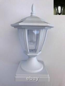 Set Of 2 Solar White Hexagon Cap Light With White SMD LED For 5x5 Fence Post
