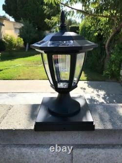 Set Of 6 Solar Black Hexagon Cap Light With White SMD LED For 5x5 Fence Post