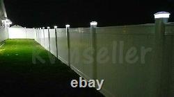 Set of 12 White Color Square Solar Light Post Cap 4x4 PVC Fence Style 246WX12