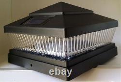 Set of 15 Garden Plastic Black 6 X 6 Outdoor 5 LED 78Lumens Solar Post Cap Light