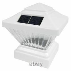 Set of 18 White Color Square Solar Light Post Cap 4x4 PVC Fence Style