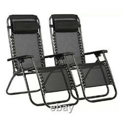 Set of 2 Black Zero Gravity Reclining Sun Lounger Helsinki Chairs FREE POST